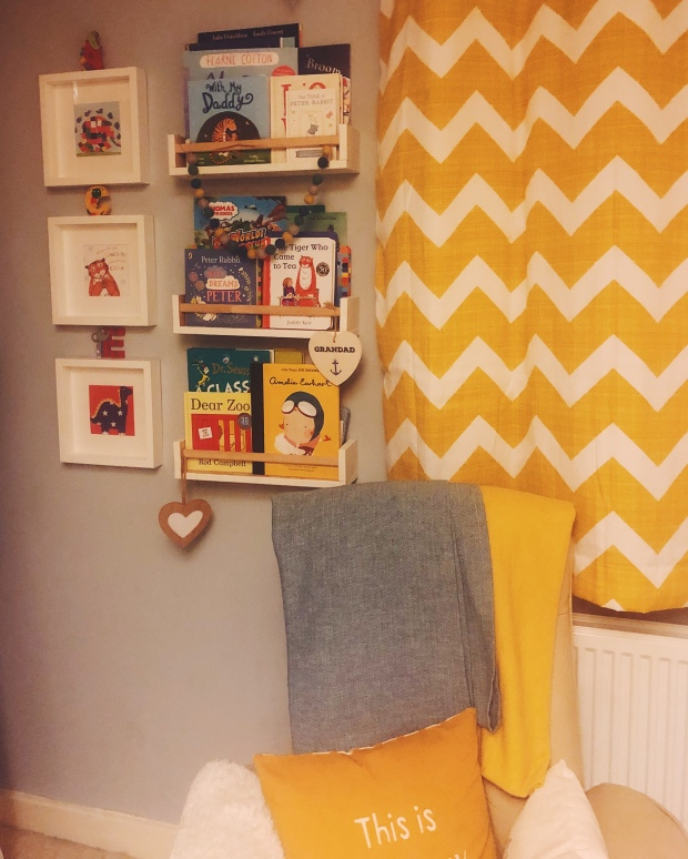 Mustard and grey reading corner nursery