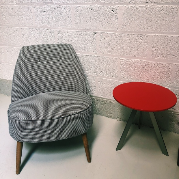 Dogtooth chair and red table