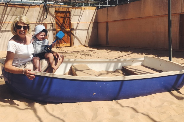Baby, sand pit, boat