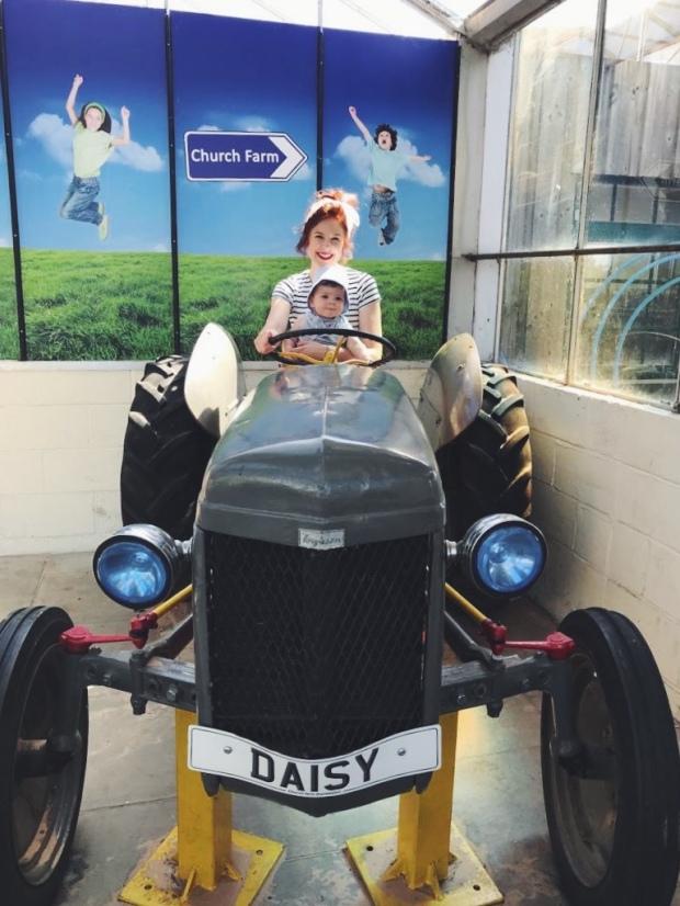 Mum baby tractor