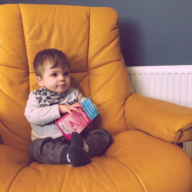 Baby yellow chair probiotics