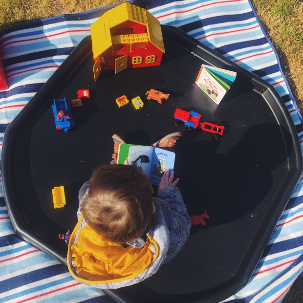Baby playing outdoors with farm set