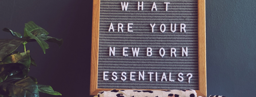 felt board with the letter 'what are your newborn essentials' spelt out